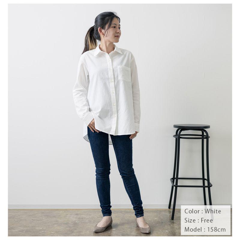 【hadae】 今治タオル認定済 プレミアムパイル レディース カジュアルシャツ 長袖 ホワイト