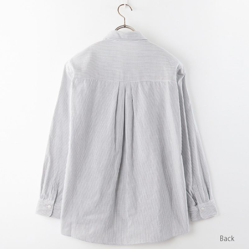 【hadae】 今治タオル素材 レディース カジュアルシャツ 長袖 ネイビーストライプ