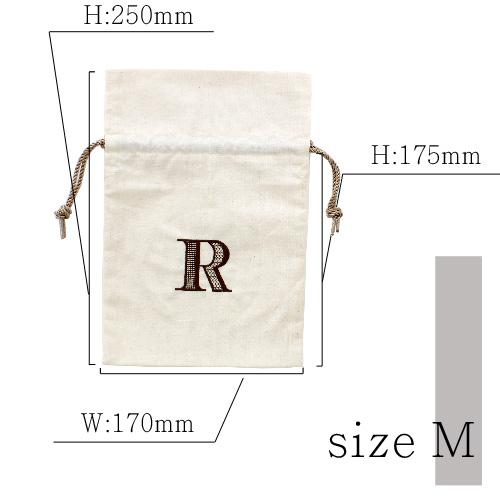 『アルファベット刺繍入り巾着ポーチ』Mサイズ