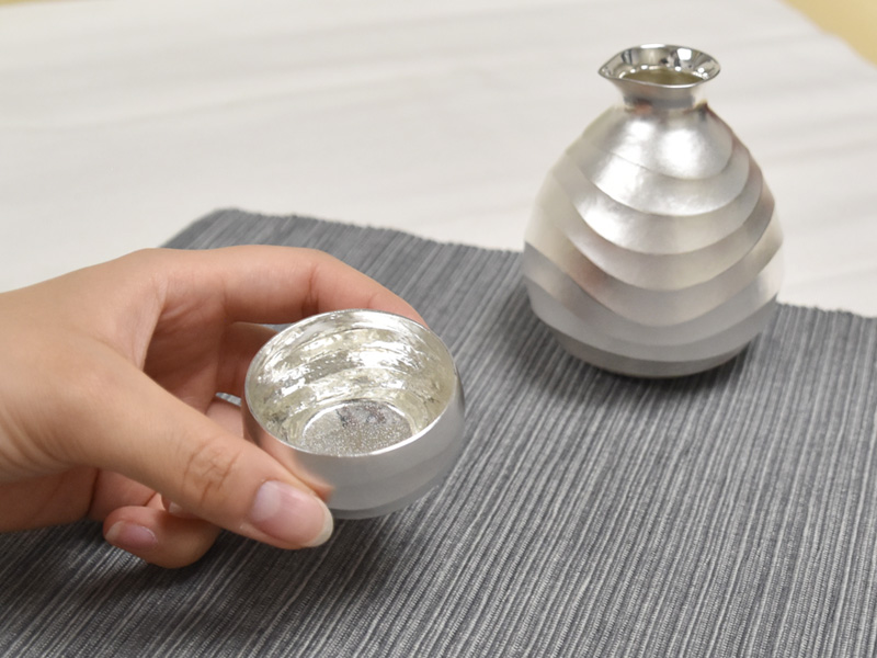純銀製 徳利 猪口セット -波-