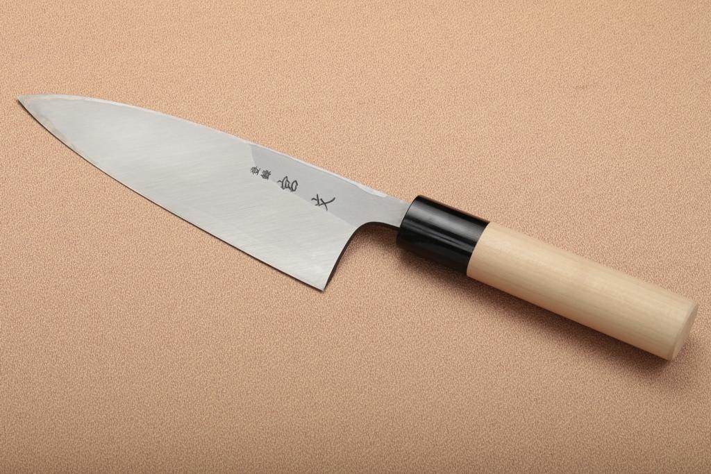 宮文 白紙出刃 水牛柄165mm