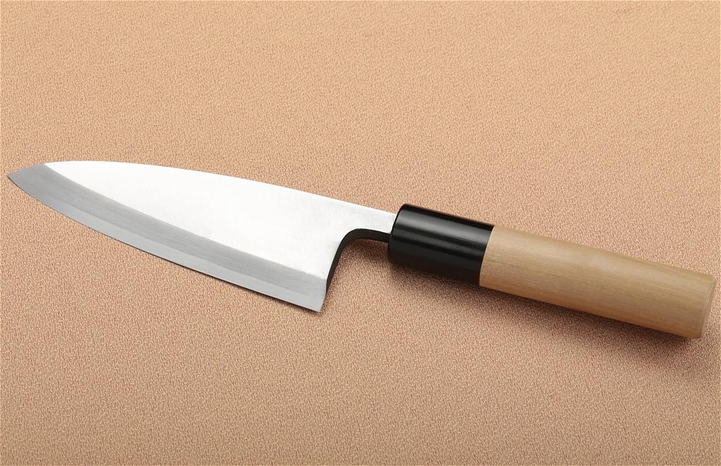 宮文 霞白紙出刃120mm(左)