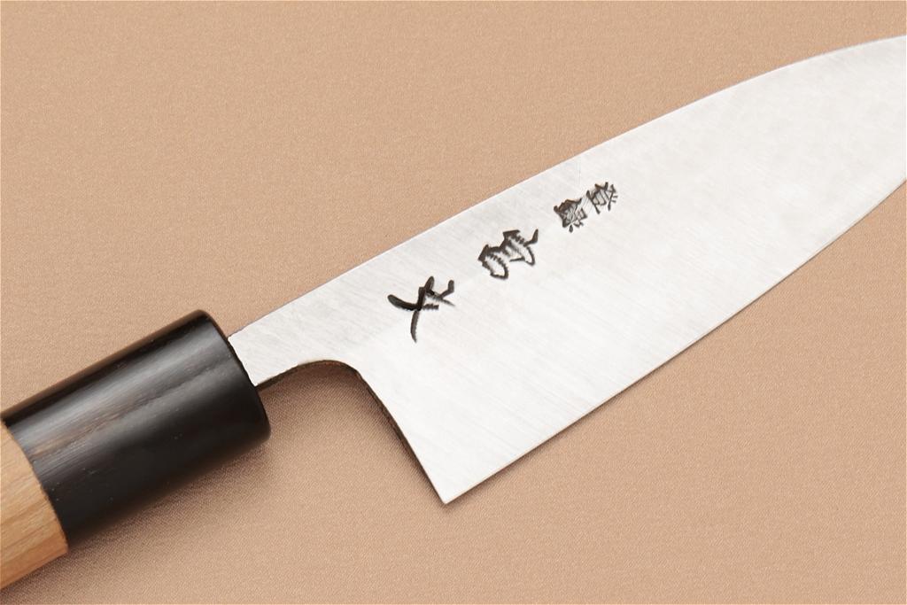 宮文 霞白紙出刃105mm(左)