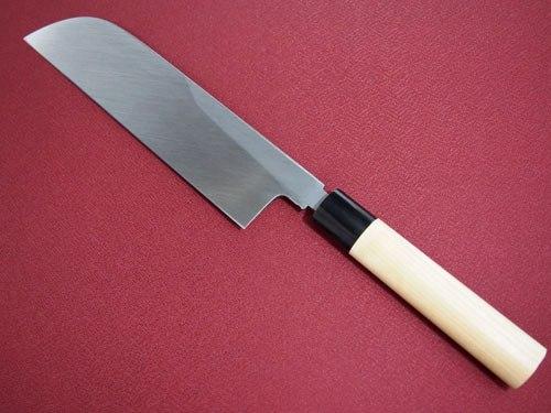 正本 本霞玉白鋼薄刃(鎌型)225mm