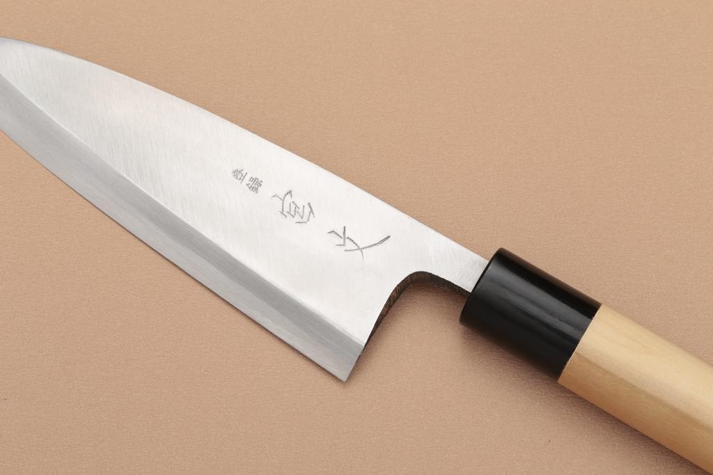 宮文 霞白紙出刃150mm(左)