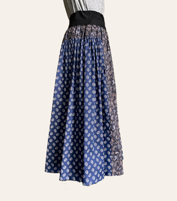 お好み柄 お好み位置で着る19枚接ぎギャザースカート
