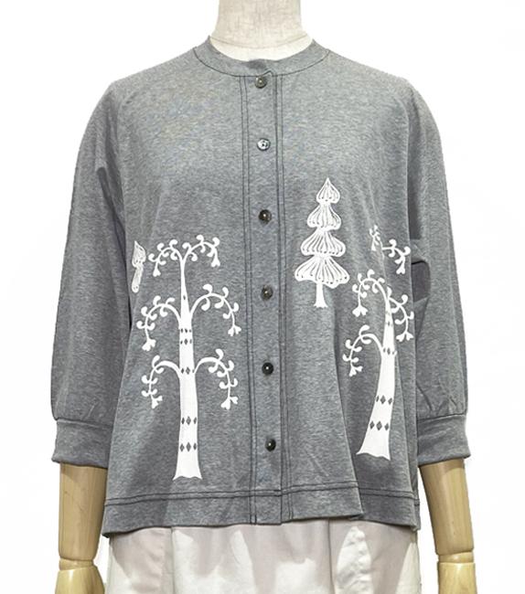 冷感フライスを楽しく羽織る森プリントカーディガン