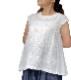 浮きウキ刺繍 洗い仕上げ Wガーゼフレンチスリーブプルオーバー