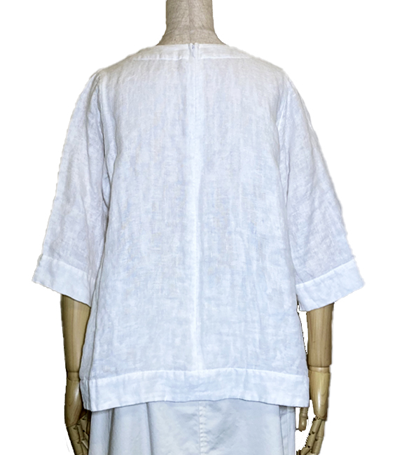 浮きウキ刺繍 洗い仕上げ Wガーゼ七分袖プルオーバー