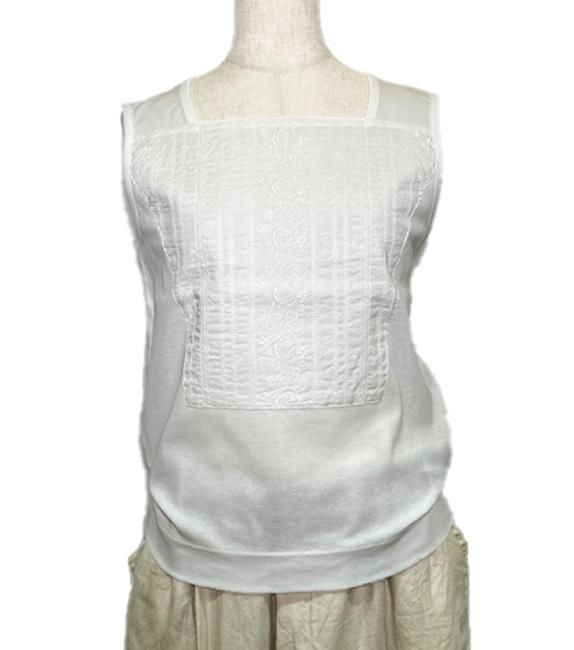夏支度なのにオールシーズン重宝 冷感フライス+刺繍布タンクトップ