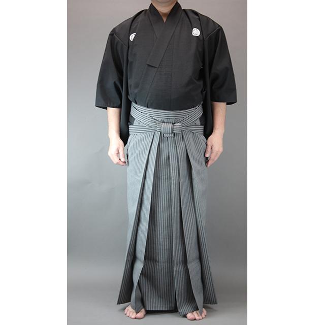 ツムギ居合衣「暁(あかつき)」(紋付用着物袖)+京都西陣仕立最高級縞袴セット