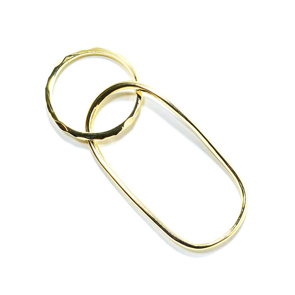 リング 11〜13号 2フィンガーリング レイヤード 重ね付け風 メタル 日本製 ニッケルオフ  シルバー ゴールド