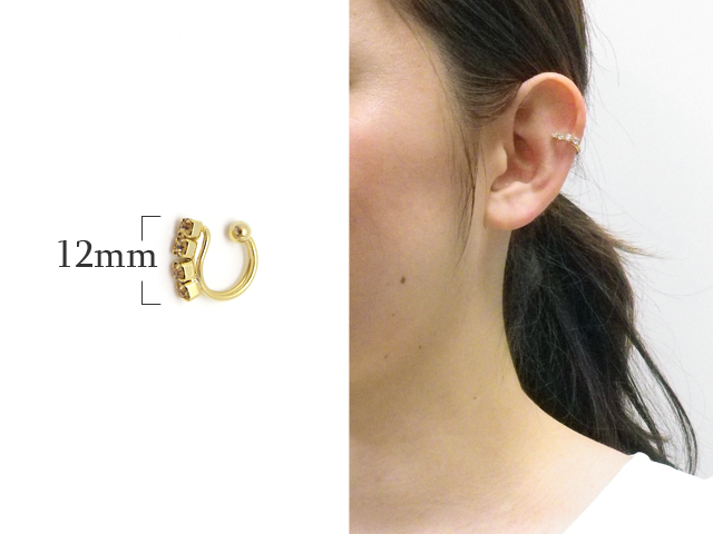 片耳用 4粒のラインストーンが輝くシンプルなイヤーカフ イヤリング