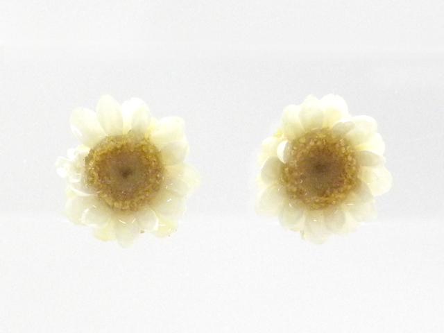 【日本製】【ローニッケル】天然花の直付けノンホールピアス イヤリング イアリング