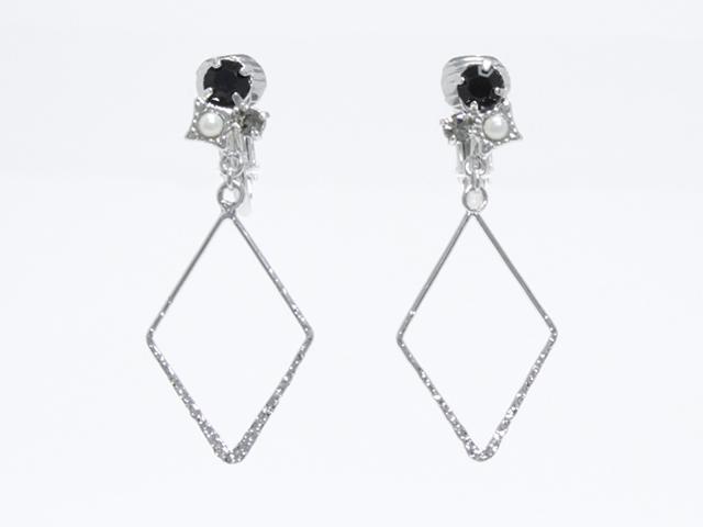 ニッケルフリー3粒ストーン&ダイヤモンドダスト柄ダイヤ型フープが揺れるクリップイヤリング イアリング