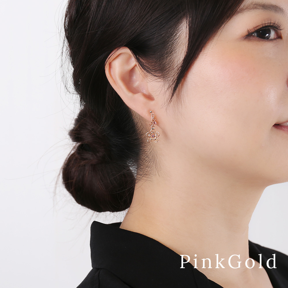 イヤリング 樹脂 ノンホール 揺れる 立体 フラワー 日本製 シルバー ゴールド ピンクゴールド