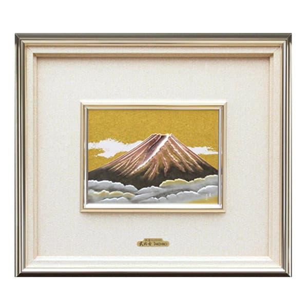 純銀レリーフ額 赤富士