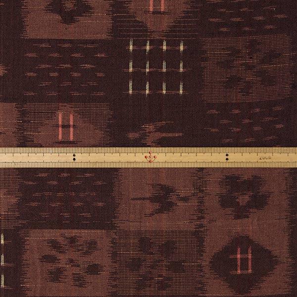 久留米絣反物 [絵絣 格子柄/茶] 1メートル単位 切り売り【SK0035】