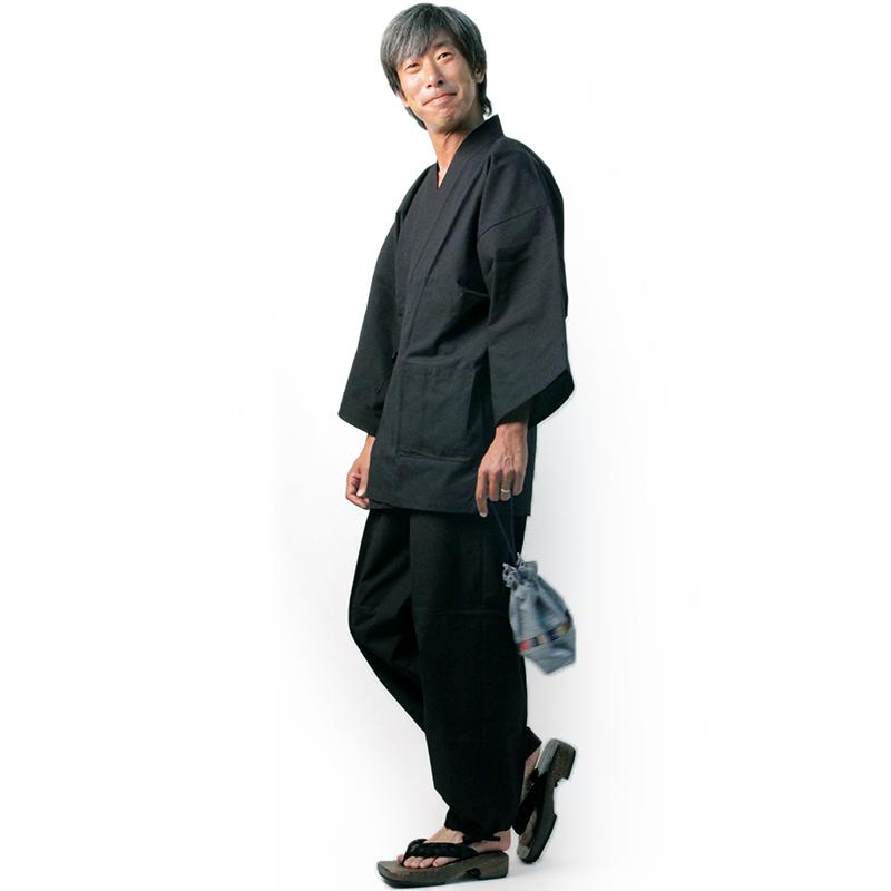 【新型】作務衣 [紬織り パンツ両サイドポケット仕立て] 黒 通年用 綿100% M/L/LL