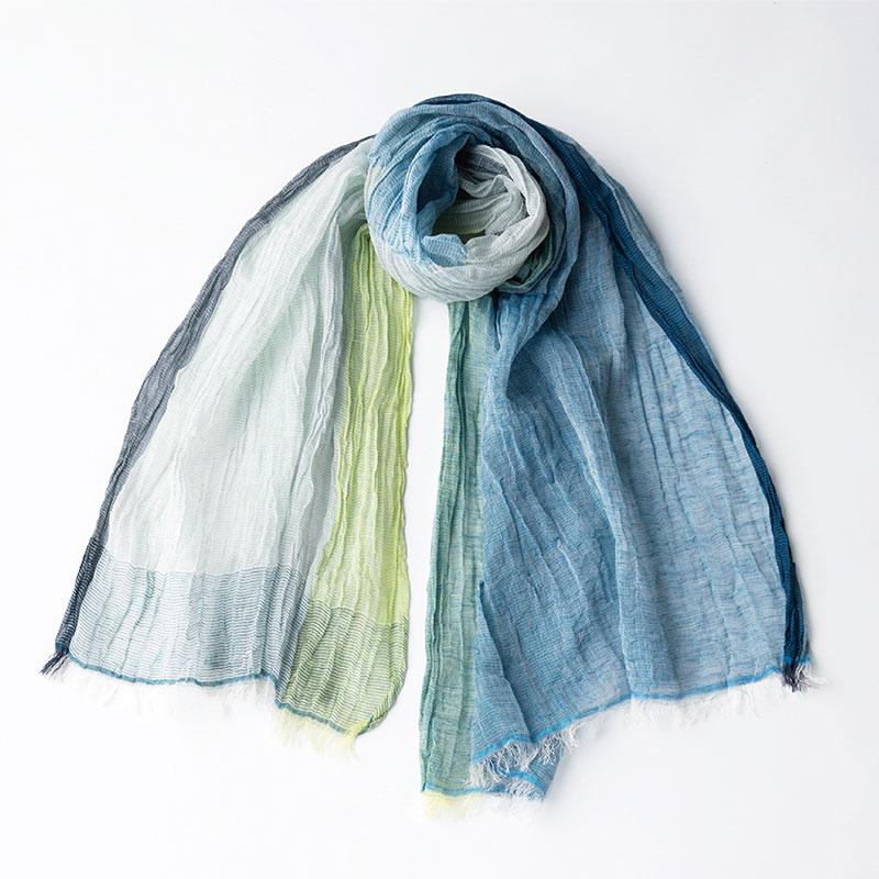 工房織座 ちぢみショール [リネンコットン] ブライトブルー 綿70%・麻30%