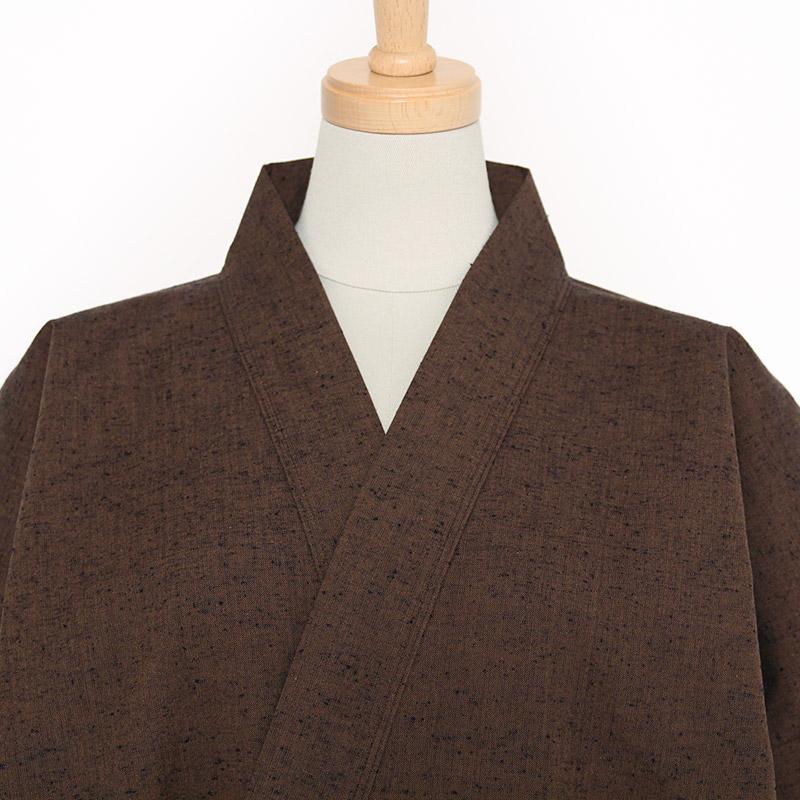 【新型】作務衣 [紬織り パンツ両サイドポケット仕立て] 茶 通年用 綿100% M/L/LL