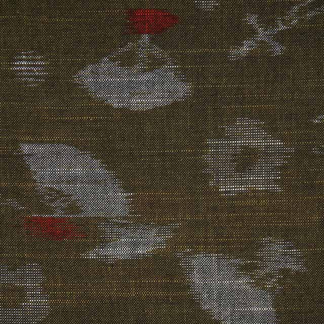久留米絣反物 [絵絣 扇柄/鶯色] 1メートル単位 切り売り【NG0031】