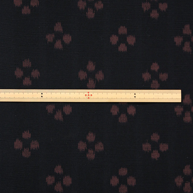 久留米絣反物 [絵絣 梅鉢/黒茶] 1メートル単位 切り売り【NM0003】
