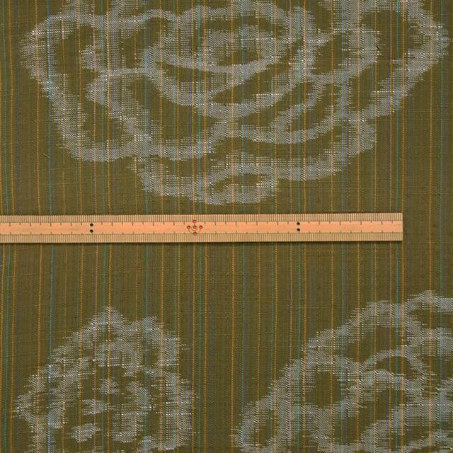 久留米絣反物 [絵絣 しじら/緑] 1メートル単位 切り売り【NG0035】
