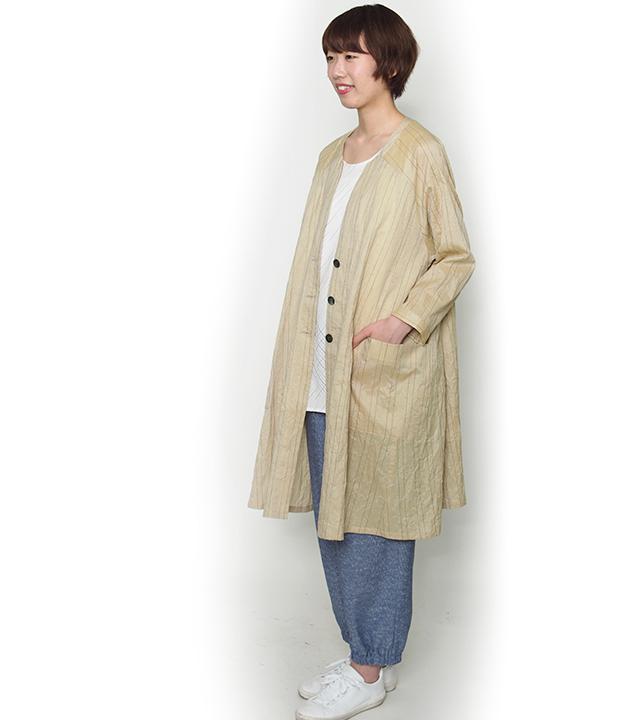 ロングジャケット [らしか 清流] 全3色 表地:綿100%