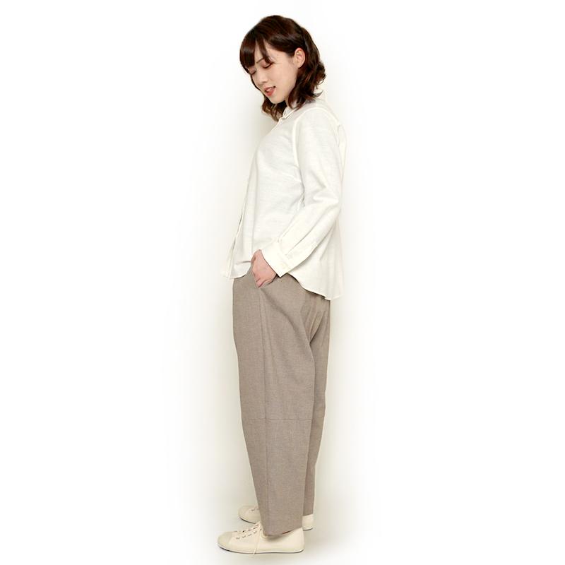 パンツ [珊瑚 sango ストレッチ 9分丈] ベージュ 綿100% ※男女兼用