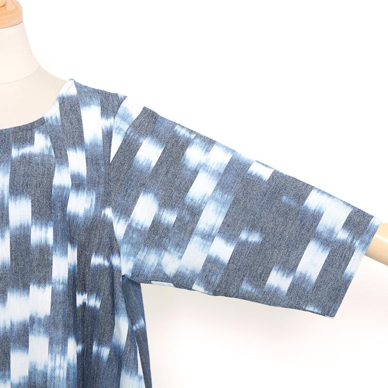 五感 [備後絣 ワンピース] 全1色 綿50%・指定外繊維(和紙)50% M~Lサイズ 5分袖