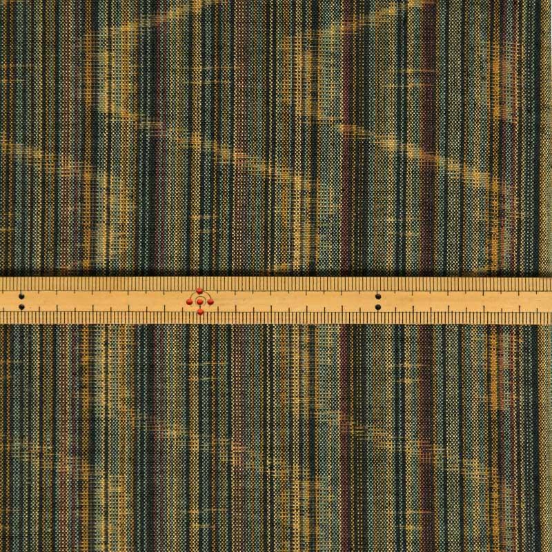 久留米絣反物 [矢鱈縞 散歩道] グリーン 1メートル単位 切り売り【NM0074】