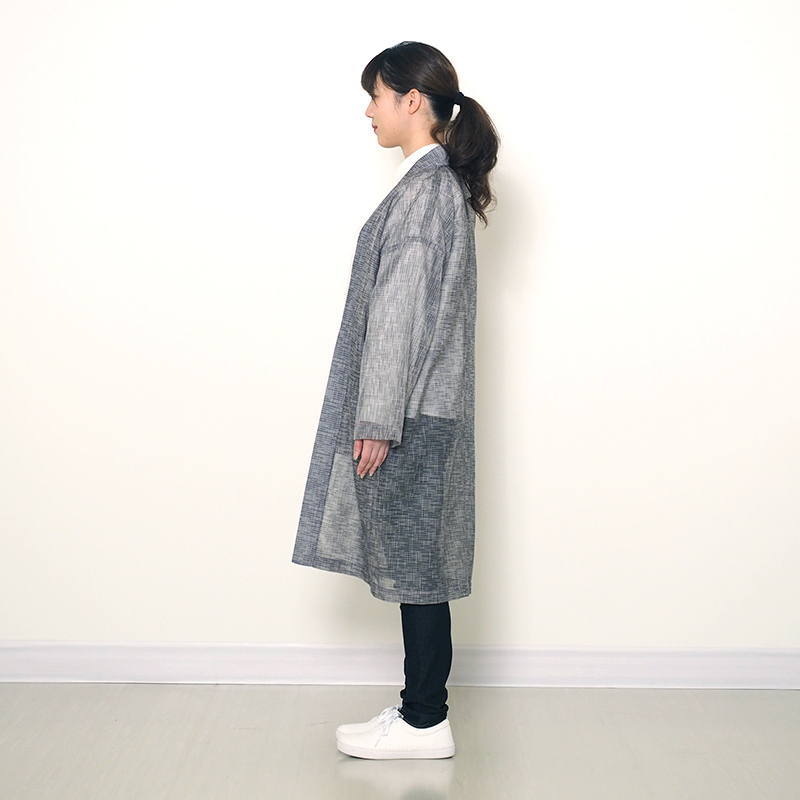 haori [karami long] ブラック/グレー ロング丈 春夏秋向け 綿100%