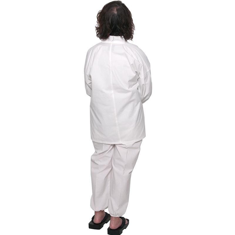 作務衣 [白紬織り 撥水加工] 白 通年用 綿100% 女性用