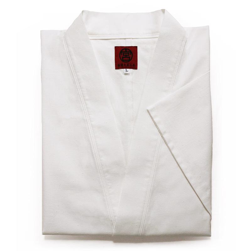 作務衣 [白紬織り 撥水加工] 白 通年用 綿100% 男性用 M/L/LL