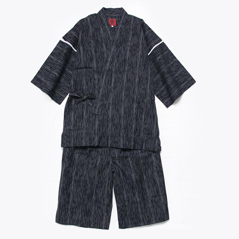 甚平 [麦打] 黒 夏用 綿100% M/L/LL/3L