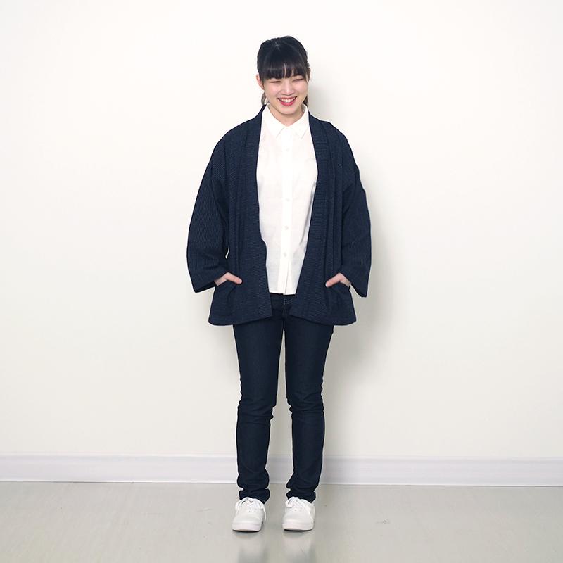 haori [bunjinsijira] ネイビー 春夏秋向け 綿100% ※new size