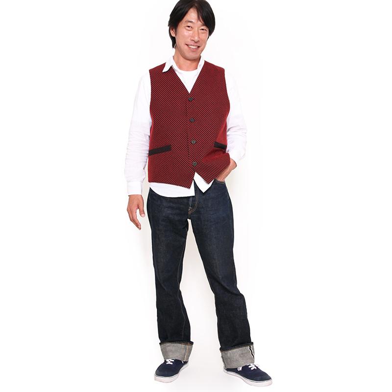 紳士ベスト [刺子花織] 全1色 綿100% リバーシブル ネット・直営店限定
