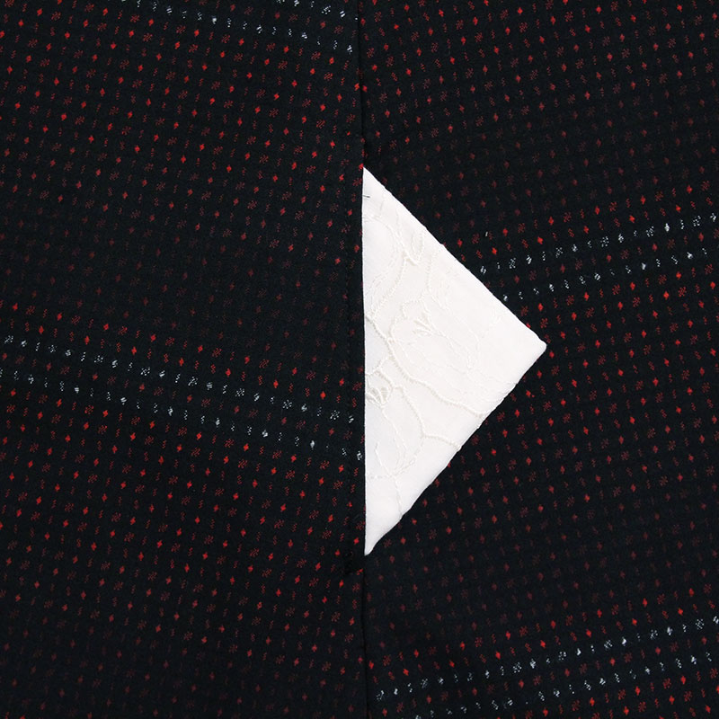 キャミソールワンピース [和木綿 飾りボタン付きジャンスカ] 日向 黒/赤 綿100%