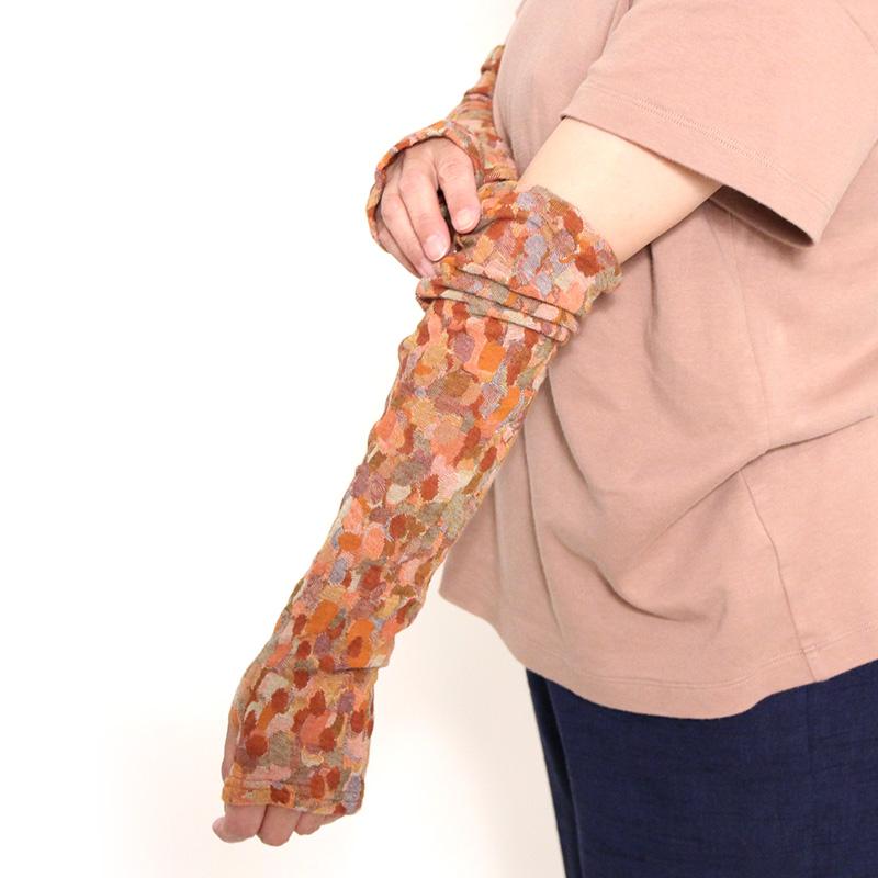 五感 アームカバー [コットンジャガード織 モザイク] レンガ 綿100%