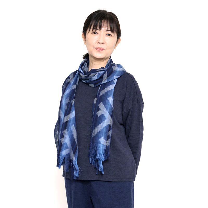 久留米絣ストール [彩藍 綸子(リンズ)ぼかし縞] 紗綾形 全2色 綿100%