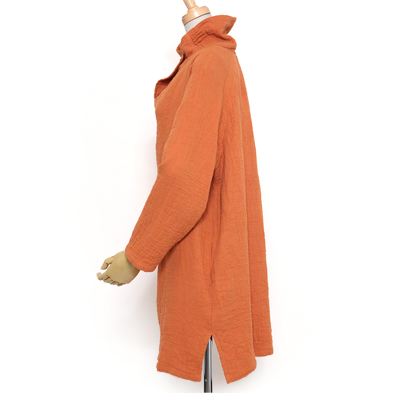 五感 トリプルガーゼ [ワン釦 チュニック] 全2色 綿100% M~Lサイズ 長袖
