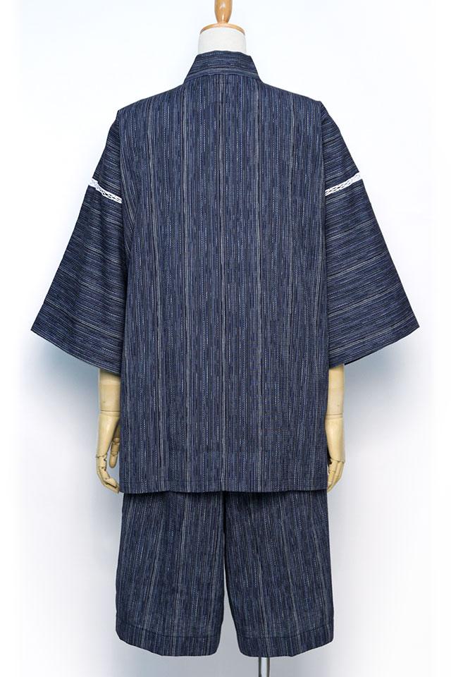 甚平 [麦打] ブルー 夏用 綿100% M/L/LL/3L
