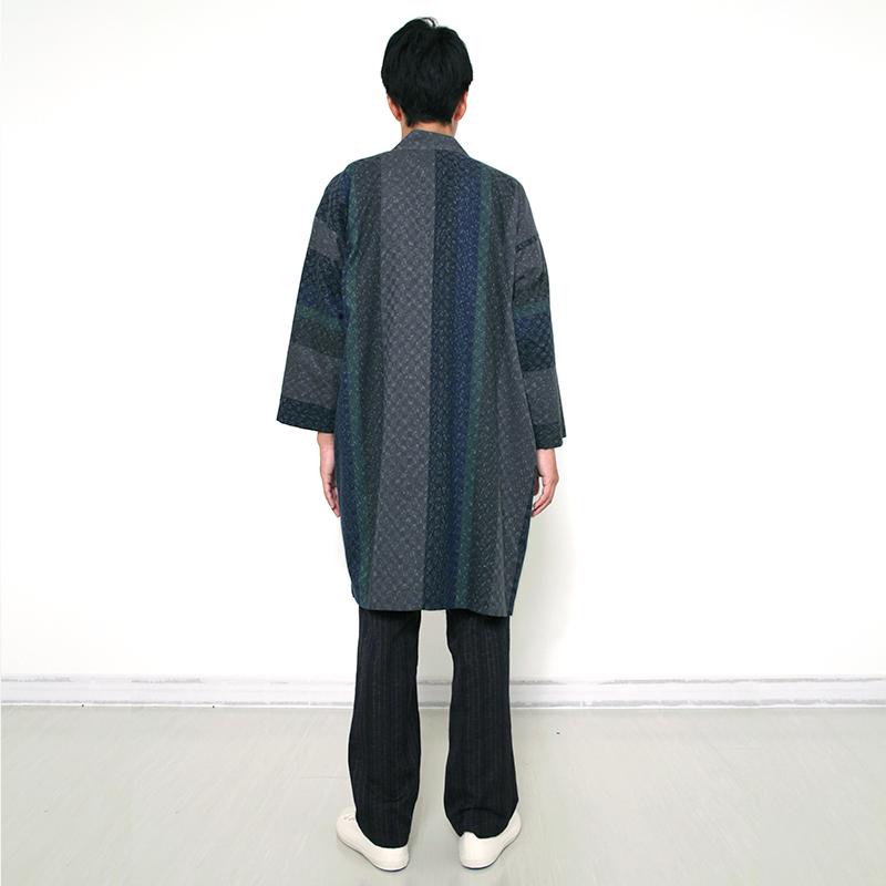 haori [seirei long] レッド・グレー ロング丈 春秋冬向け 綿100%