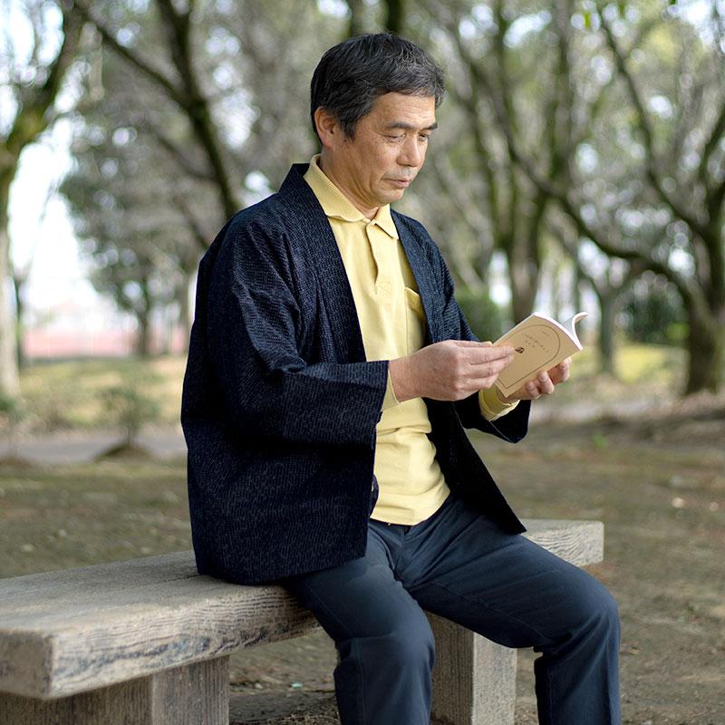 haori [kagasuri] ネイビー 通年向け 綿100%