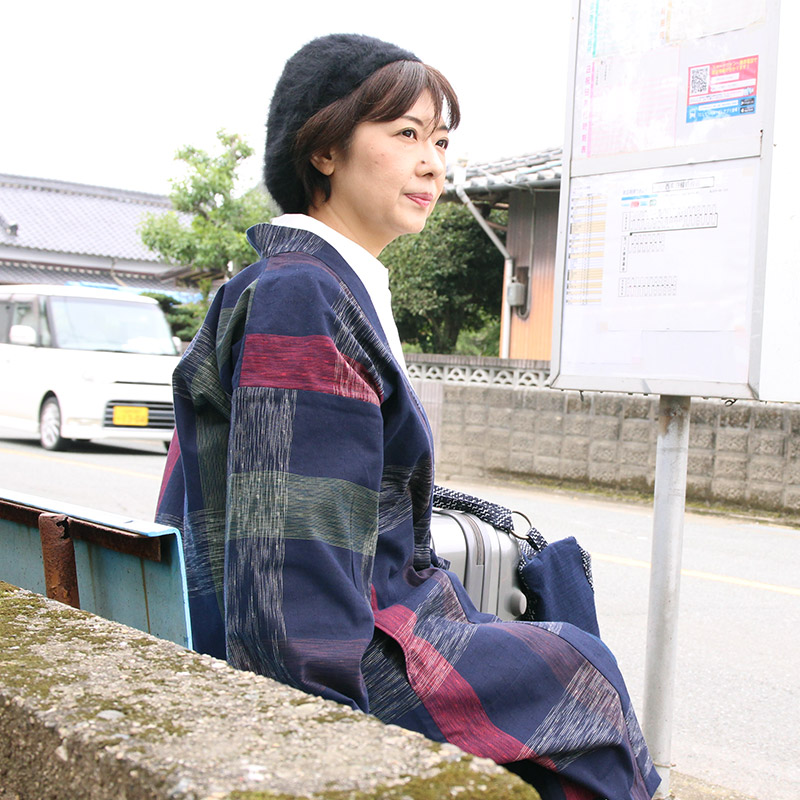 haori [syurei long] ネイビー ロング丈 春秋冬向け 綿100%
