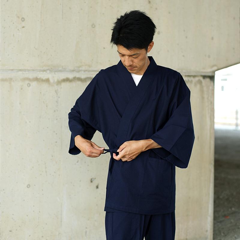 【新型】作務衣 [紬織り パンツ両サイドポケット仕立て] 紺 通年用 綿100% M/L/LL ※新型シリーズの中で一番人気
