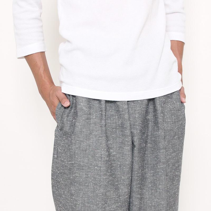 【新型】作務衣 [紬織り パンツ両サイドポケット仕立て] グレー 通年用 綿100% M/L/LL