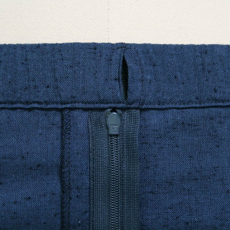 【新型】作務衣 [紬織り パンツ両サイドポケット仕立て] ブルー 通年用 綿100% M/L/LL