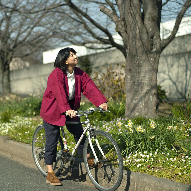 haori [nagomi] レッド 春夏秋向け 綿100%